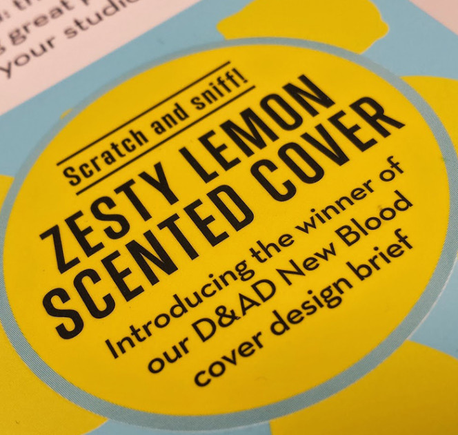 Fragrance burst inks, zesty lemon scratch and sniff print finishing