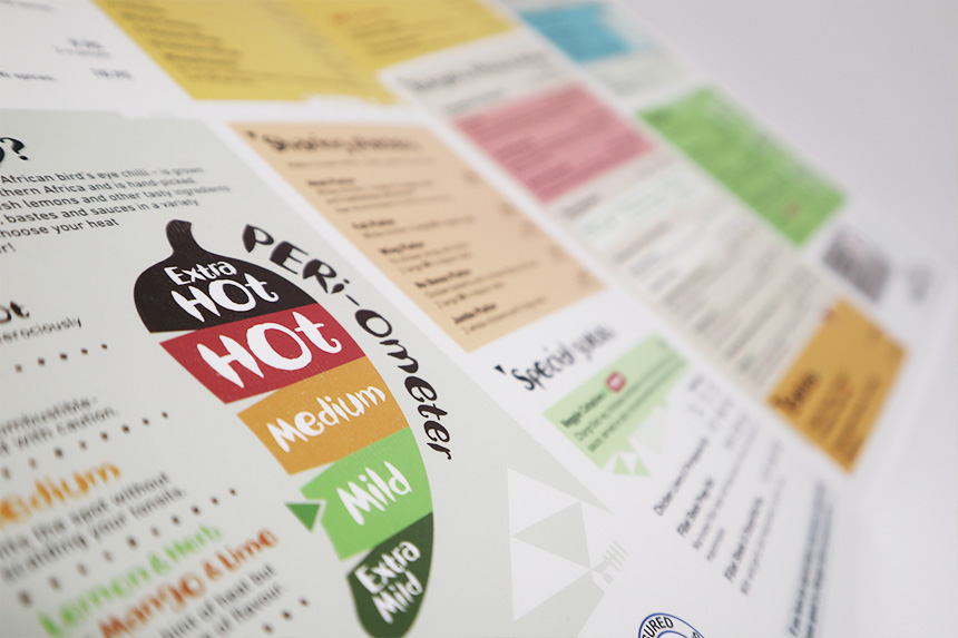 Nandos menu shows lamination and folding